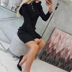 zwarte jurk met knopen voorkant 1